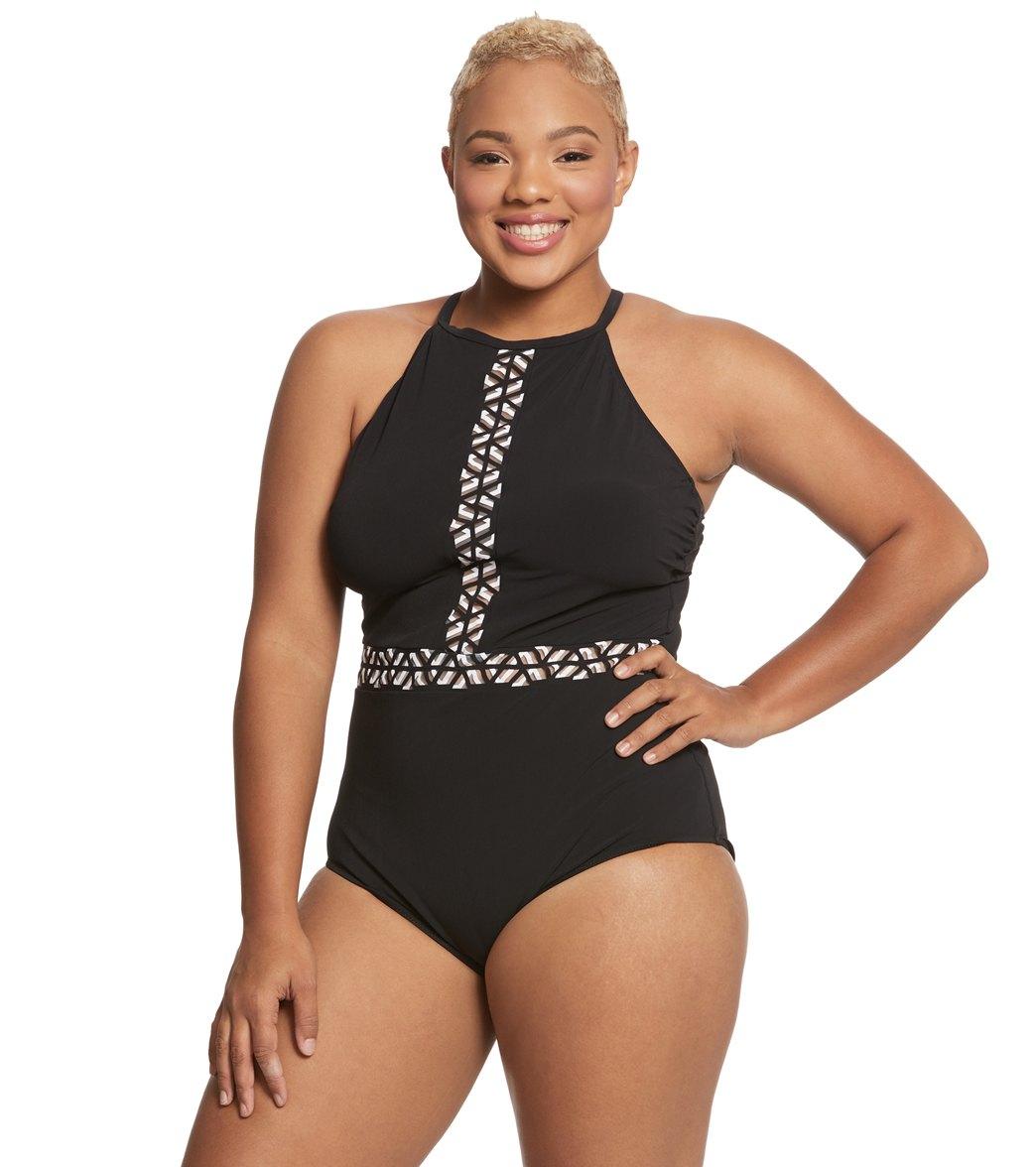 a11907a0d0d1b Profile by Gottex Plus Size Labyrinth High Neck One Piece Swimsuit ...