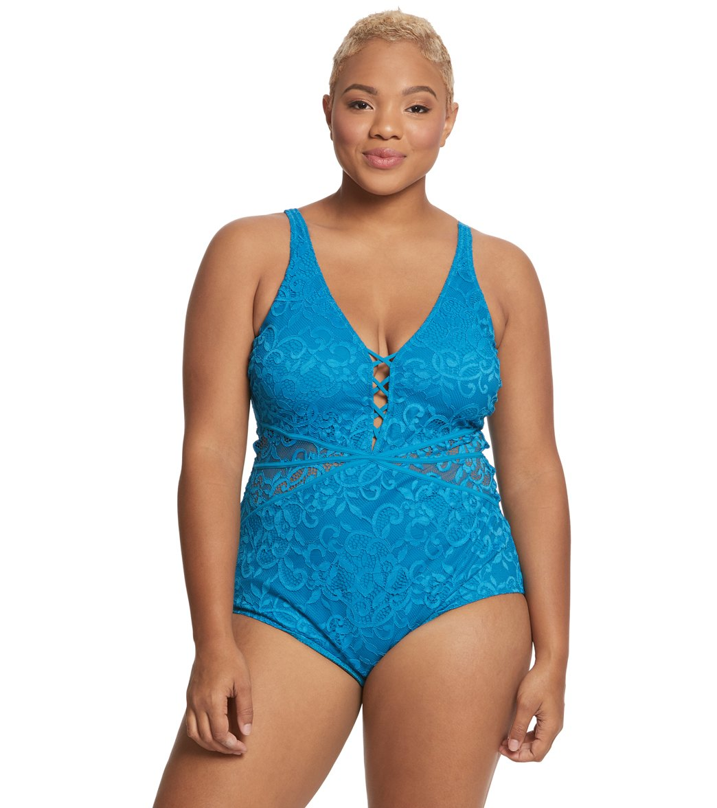 Profile by Gottex Womens Plus-Size Thick Strap V-Neck One Piece Swimsuit