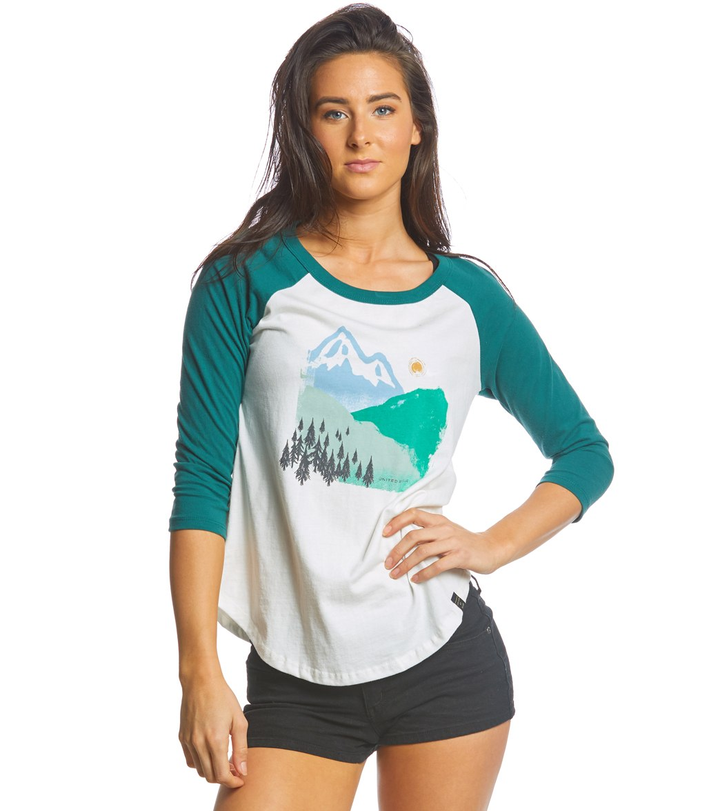 1955760a United By Blue Women's 3/4 Sleeve Mountain Ink Baseball Tee at ...
