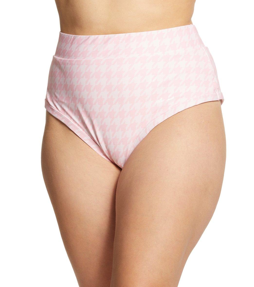 Alpine Butterfly Plus Pink Houndstooth Lover Bikini Bottom