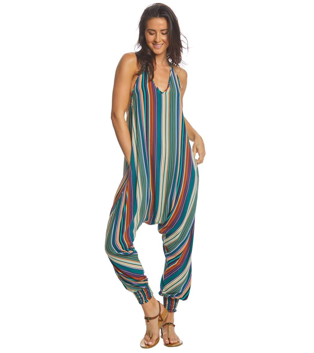 19d6f3247eb Buddha Pants Stripes Harem Jumpsuit at YogaOutlet.com - Free Shipping