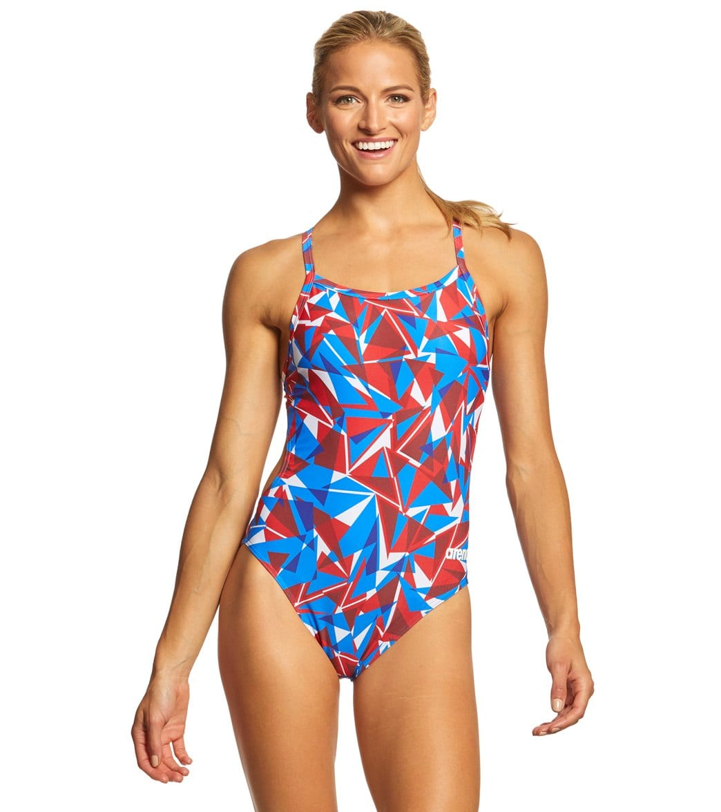 b910bd1aa5 Arena Women's Shattered Glass Challenge MaxLife Thin Strap Open Back One  Piece Swimsuit at SwimOutlet.com - Free Shipping