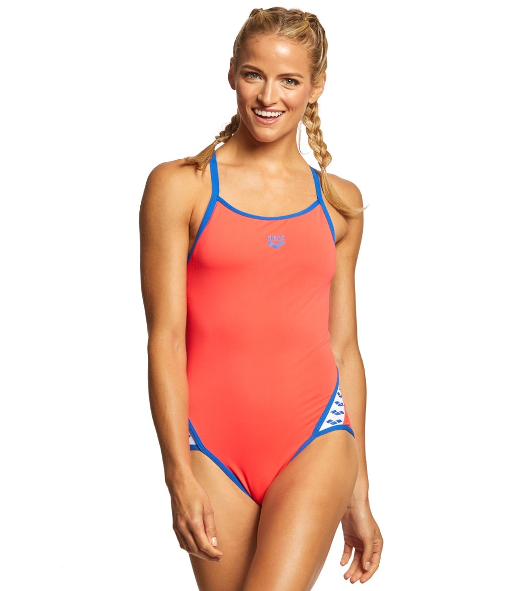 914aa3deab5f6 Arena Women's Team Stripe MaxLife SuperFly Back One Piece Swimsuit at  SwimOutlet.com - Free Shipping