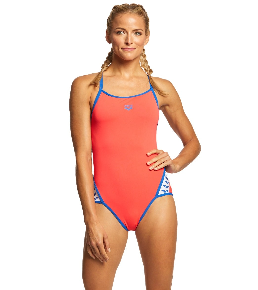 432ced5621b8e Arena Women s Team Stripe MaxLife SuperFly Back One Piece Swimsuit. Black  White ...