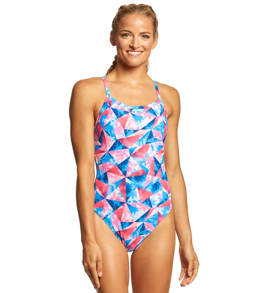 ec36224e47 Arena Women s Tropical Challenge MaxLife Thin Strap Open Back One Piece  Swimsuit at SwimOutlet.com - Free Shipping