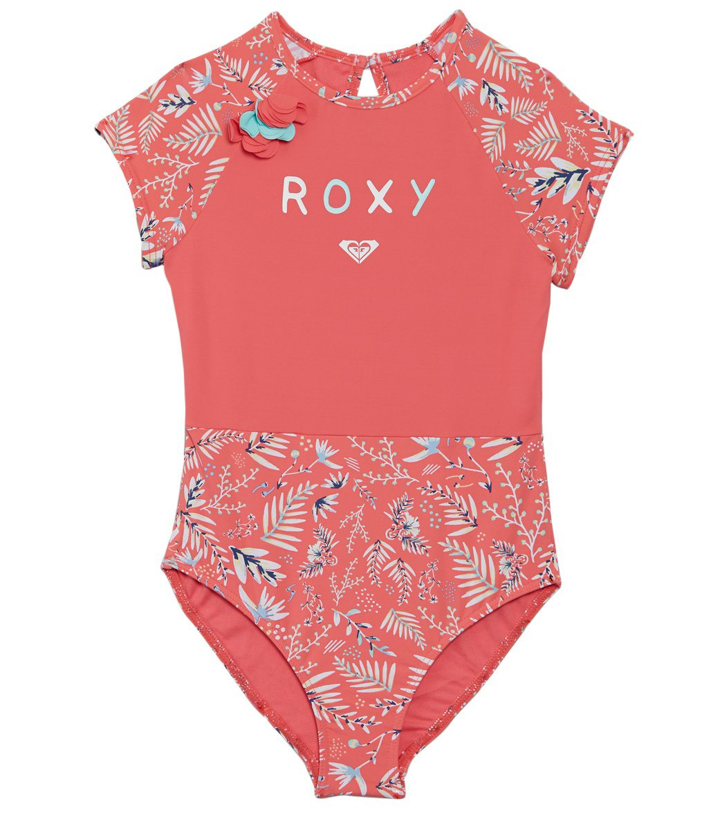 1d8efd2a29a Roxy Girls' Bali Dance Cap Sleeves One Piece Rashguard Swimsuit (Toddler,  Little Kid) at SwimOutlet.com - Free Shipping