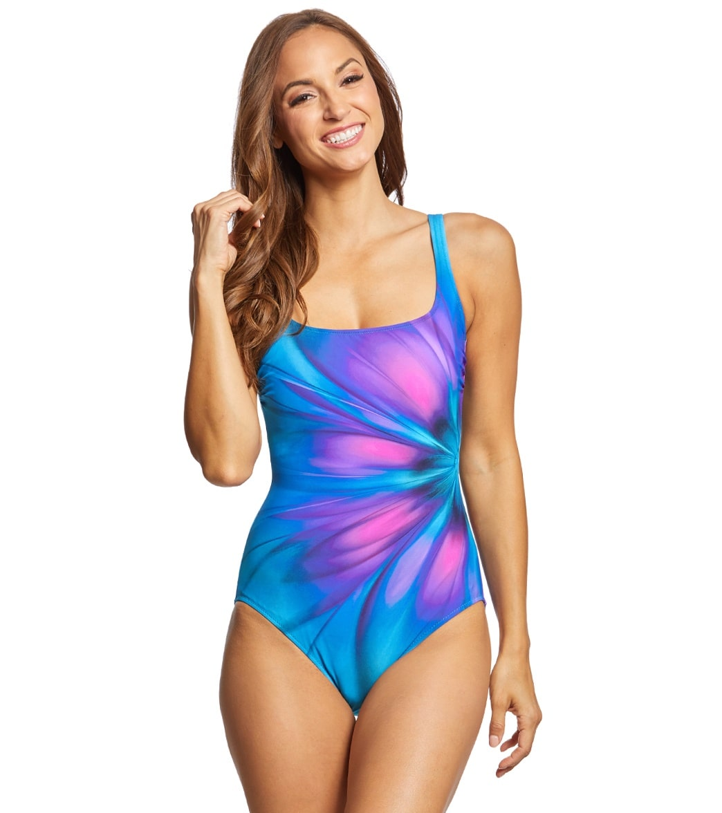 7798b37c8a2ef Gottex Belle Fleur Square Neck One Piece Swimsuit at SwimOutlet.com - Free  Shipping