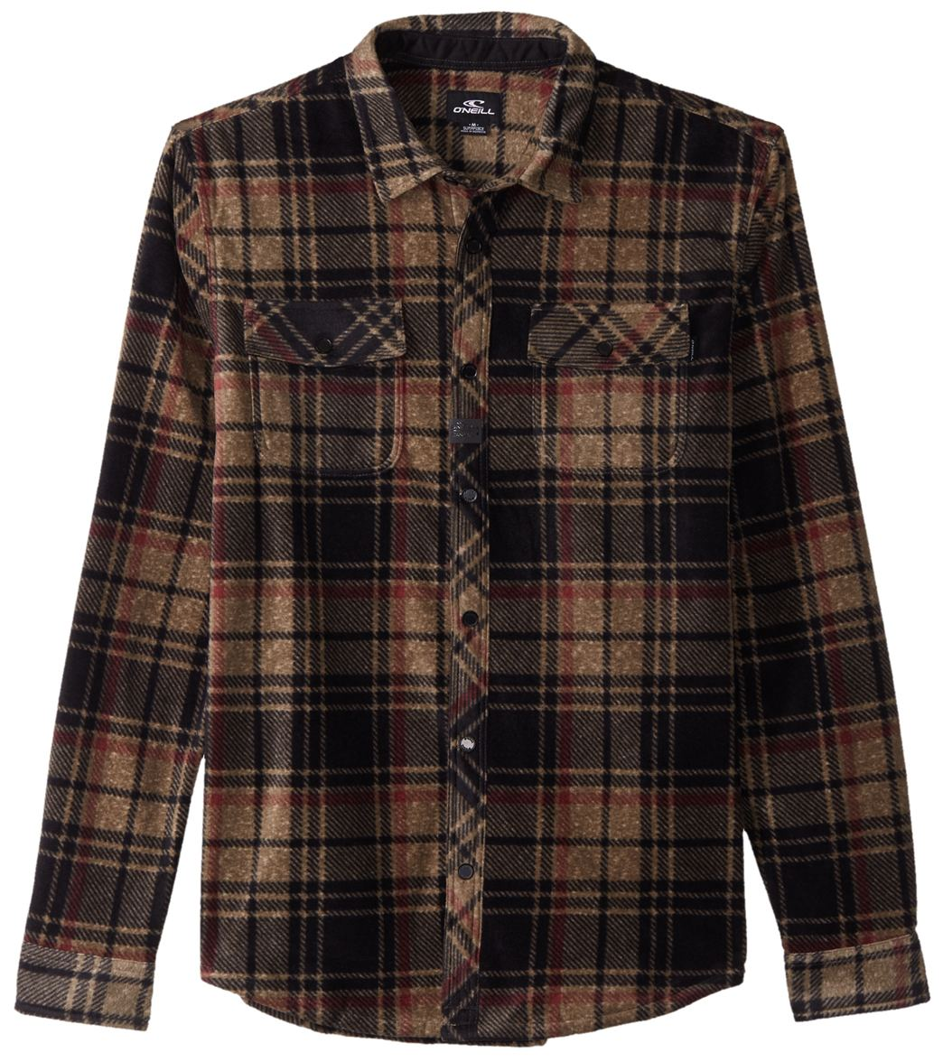 9a46aa2f O'Neill Men's Long Sleeve Glacier Plaid Fleece Shirt at SwimOutlet.com -  Free Shipping
