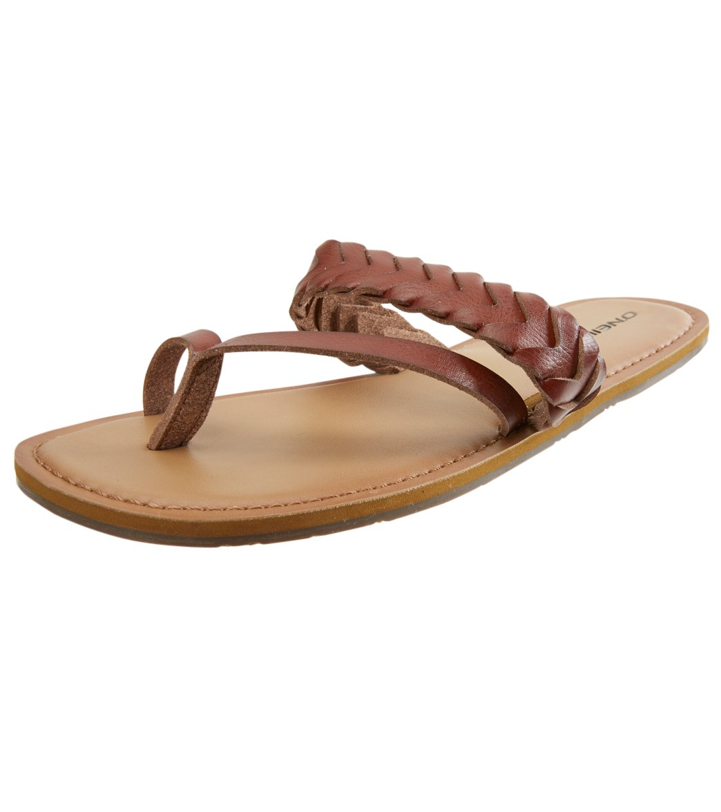 For beach days and beyond, the O\'Neill Women\'s Newport Sandal will take you there. Composition 100% Polyurethane. Padded topsole. Faux Leather. Features Braided strap over top. Smooth toe strap. Country of Origin Imported. About O\'Neill: Jack O\'Neill began surfing in 1952, before functional surf apparel was invented. While working for the Army Air Corps, O\'Neill discovered neoprene foam in a DC-3 airplane. He then combined the neoprene carpeting with duct tape to create the first neoprene wetsui