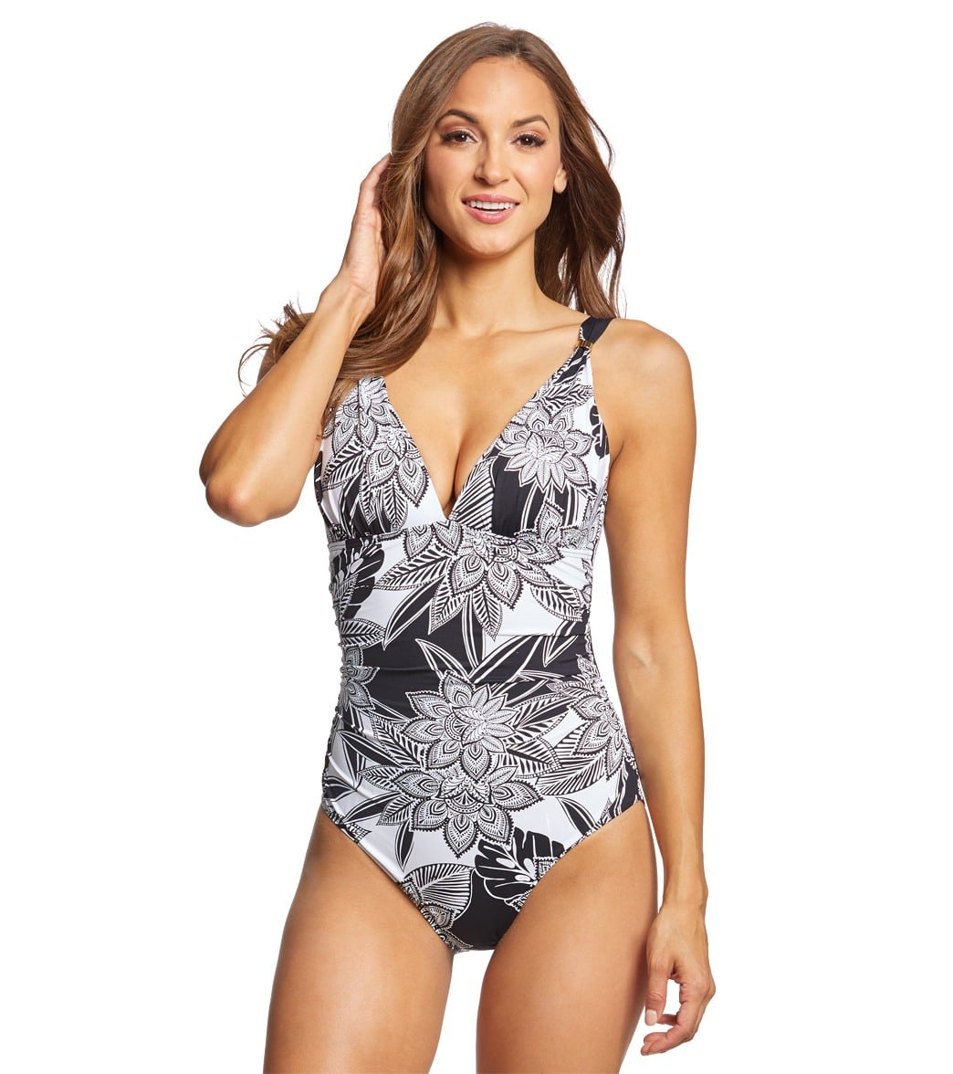 a413a4d8407 Lauren Ralph Lauren Graphic Floral Slimming Fit Plunge One Piece Swimsuit  at SwimOutlet.com - Free Shipping