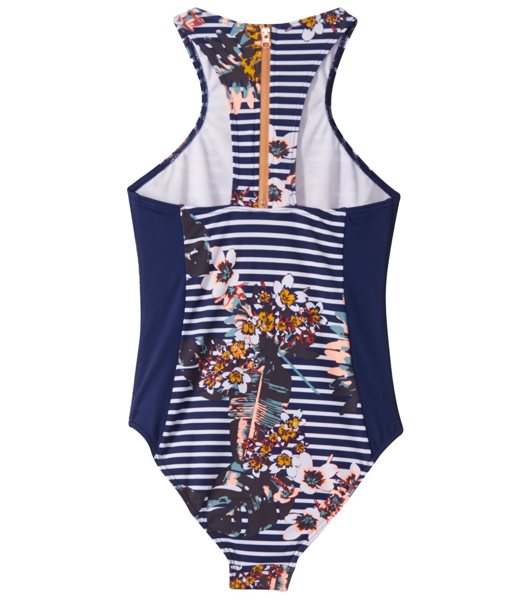 d7673cf393b57 Roxy Girls  Keep in Flow One Piece Swimsuit (Big Kid) at SwimOutlet ...
