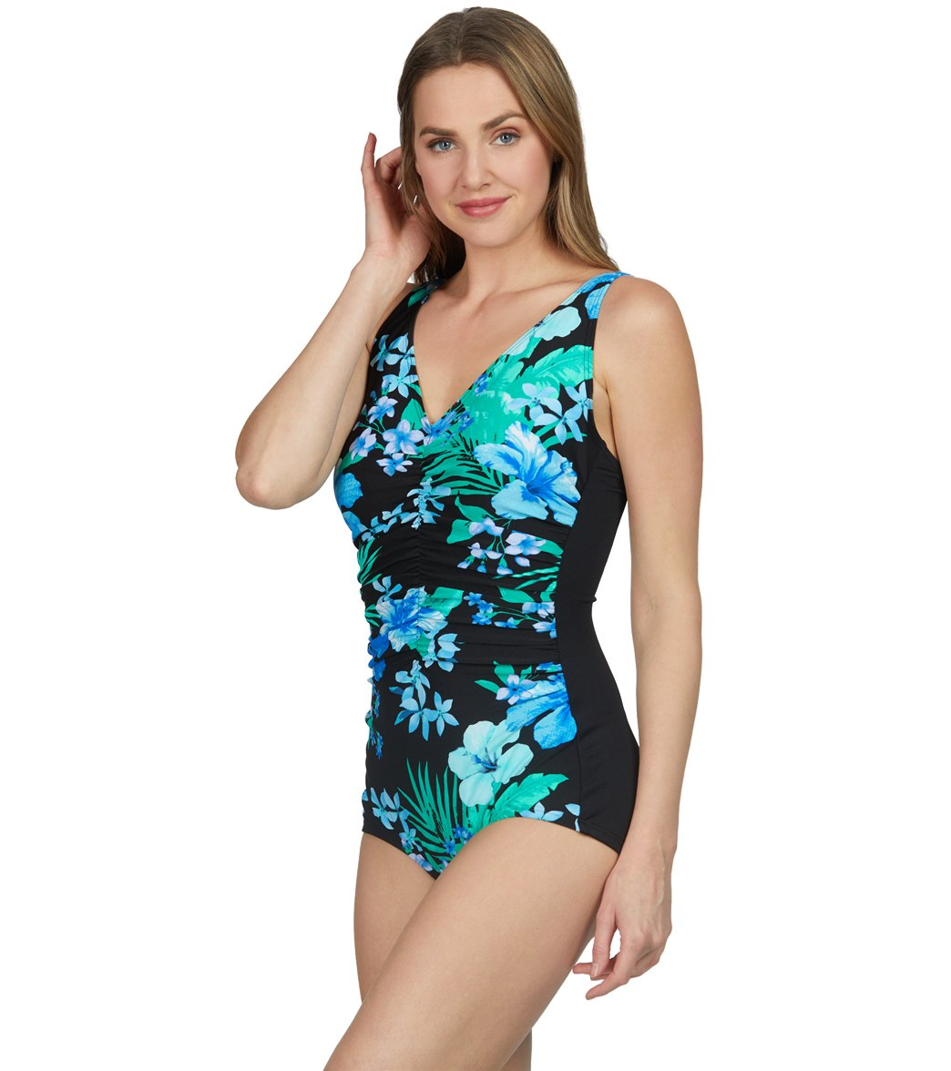76df863250 Gabar Chlorine Resistant Native Floral V-Neck Girl Leg One Piece Swimsuit  at SwimOutlet.com - Free Shipping