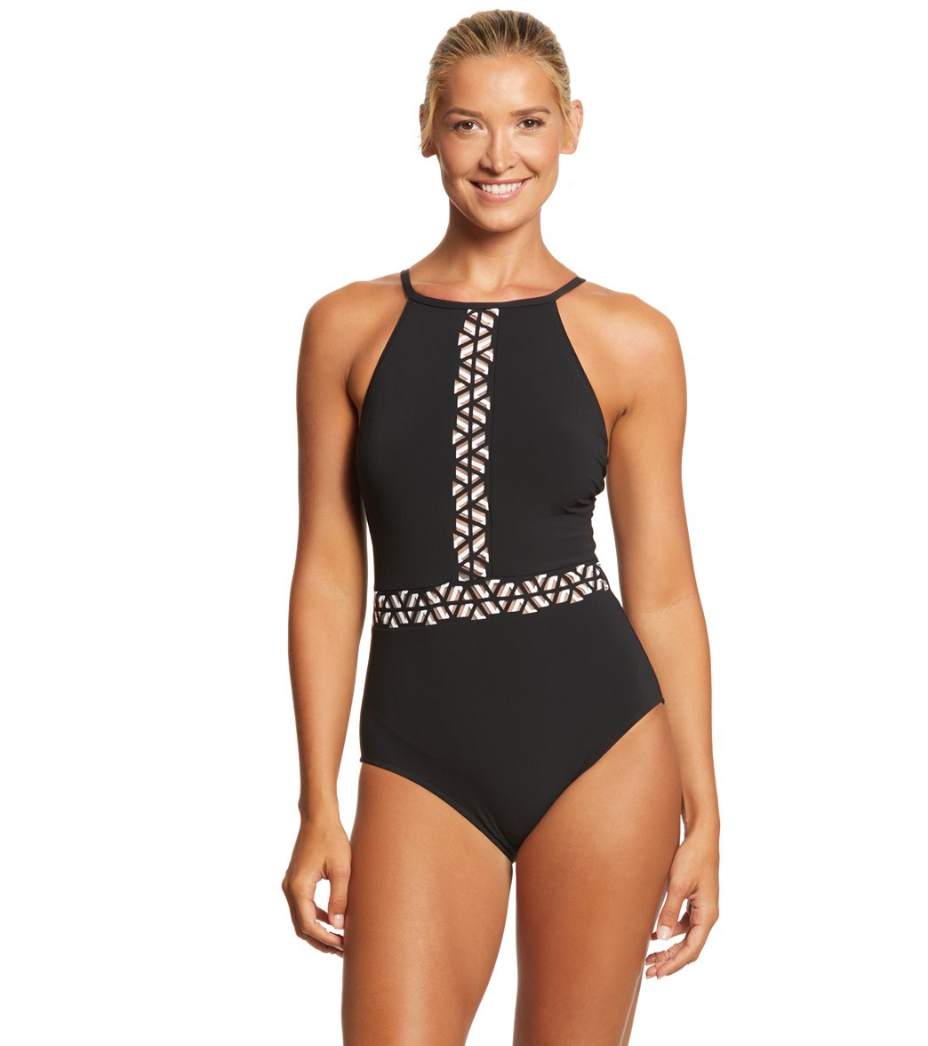 d9c6b69572 Profile by Gottex Labyrinth High Neck One Piece Swimsuit at SwimOutlet.com  - Free Shipping