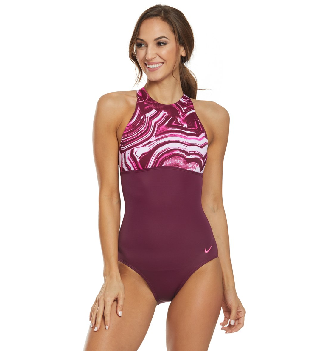 a8a69a85474 Nike Women's Amp Ripple Chlorine Resistant One Piece Swimsuit at  SwimOutlet.com - Free Shipping