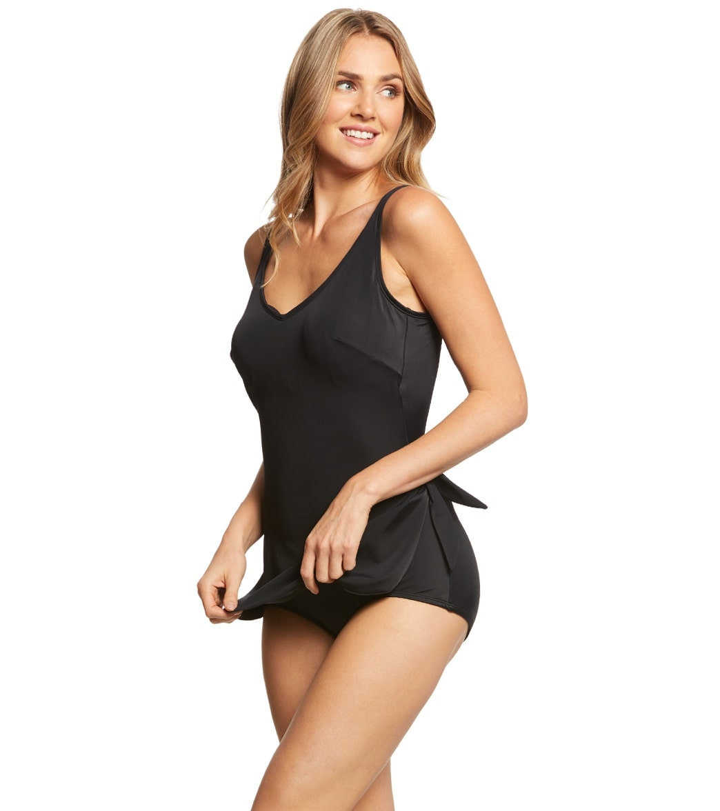 00cc236c90406 Roxanne Solid Chlorine Resistant V-Neck Sarong One Piece Swimsuit at ...