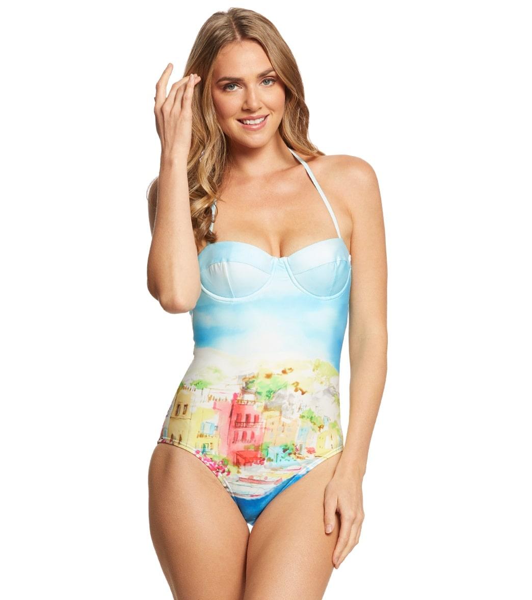 Kate Spade New York Ocean Grove Underwire Halter One Piece Swimsuit