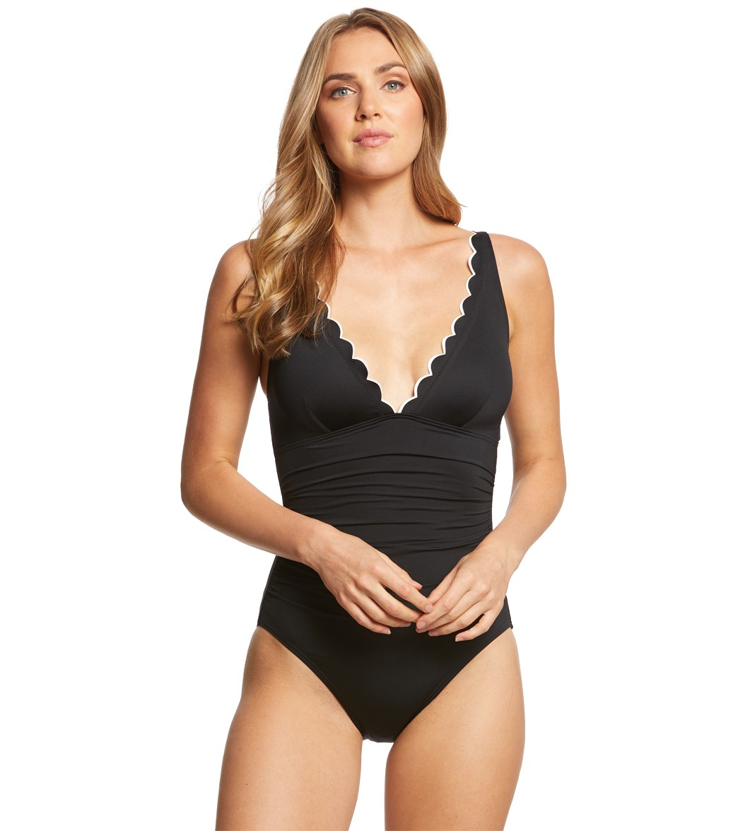 cb9d1ffa70a4d Kate Spade Fort Tilden Scalloped One Piece Swimsuit at SwimOutlet.com - Free  Shipping