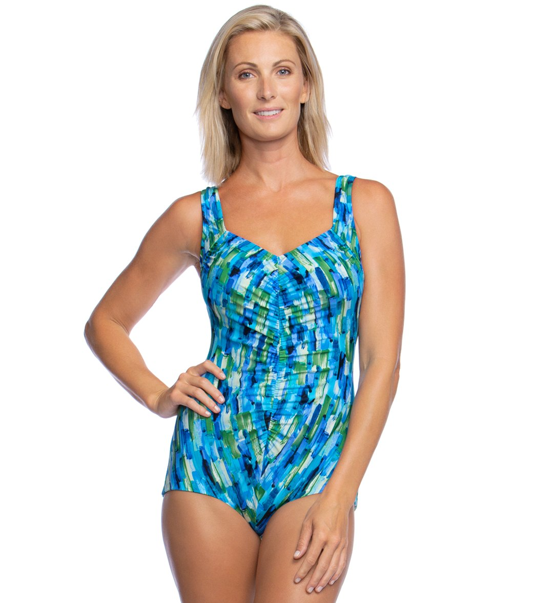 64edd7a1d9efb Maxine Funfetti Shirred Girl Leg One Piece Swimsuit at SwimOutlet.com