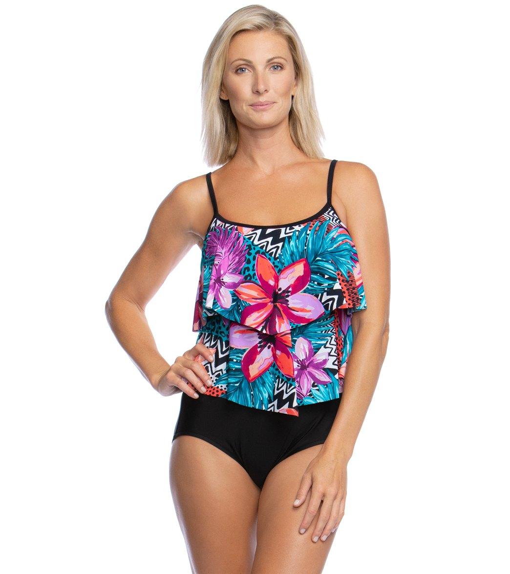 e251885380 Maxine Serengeti Stripe Double Tiered One Piece Swimsuit at SwimOutlet.com  - Free Shipping
