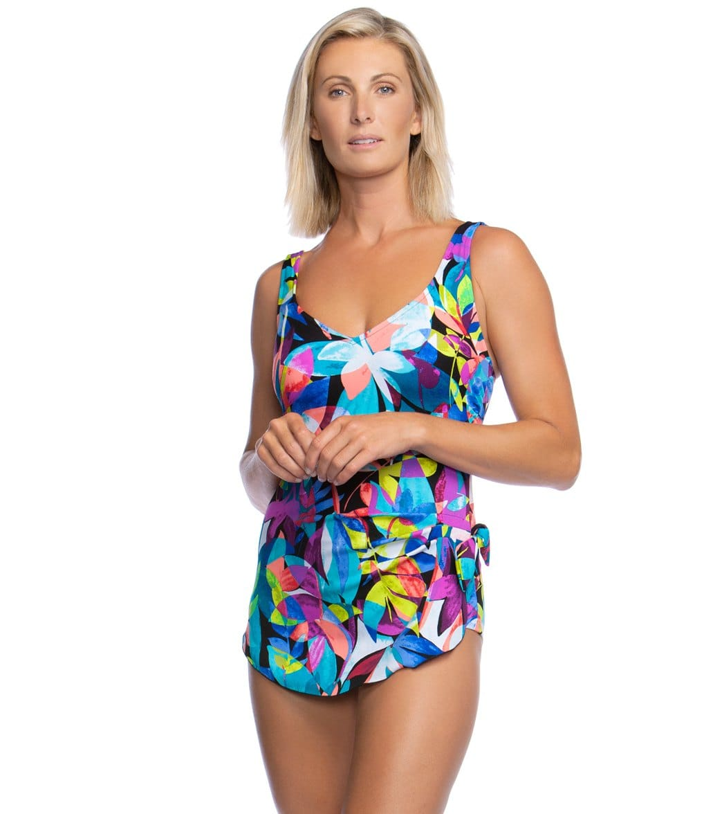 fda4ee2166724 Maxine Fiesta Chlorine Resistant Sarong One Piece Swimsuit at  SwimOutlet.com - Free Shipping