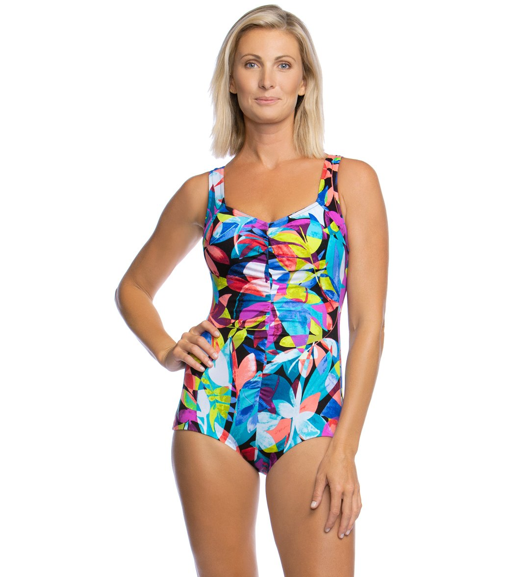 71843aded9 Maxine Fiesta Chlorine Resistant Shirred Girl Leg One Piece Swimsuit at  SwimOutlet.com - Free Shipping