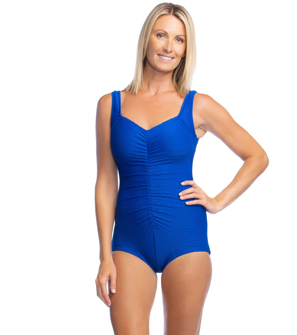 7ee6555eec67b Maxine Chlorine Resistant Shirred Girl Leg One Piece Swimsuit at  SwimOutlet.com - Free Shipping