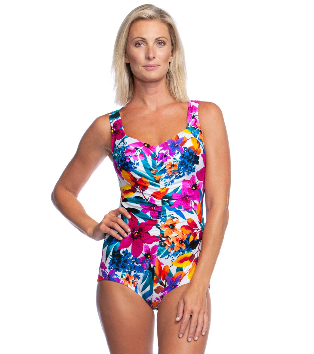 c21877edba5a1 Maxine Key West Shirred Girl Leg One Piece Swimsuit at SwimOutlet.com