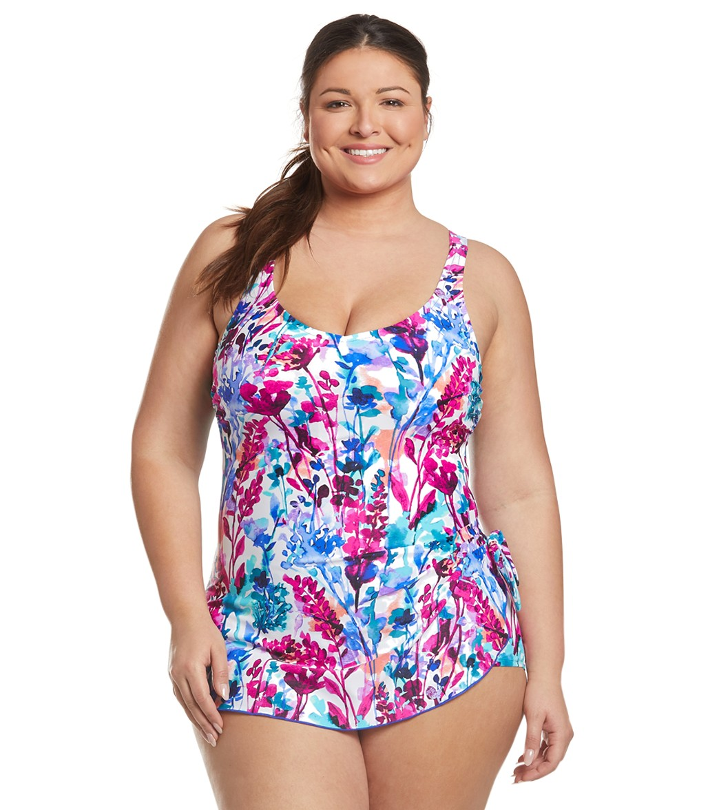 79263231b8 Maxine Plus Size Parisian Garden Sarong One Piece Swimsuit at  SwimOutlet.com - Free Shipping