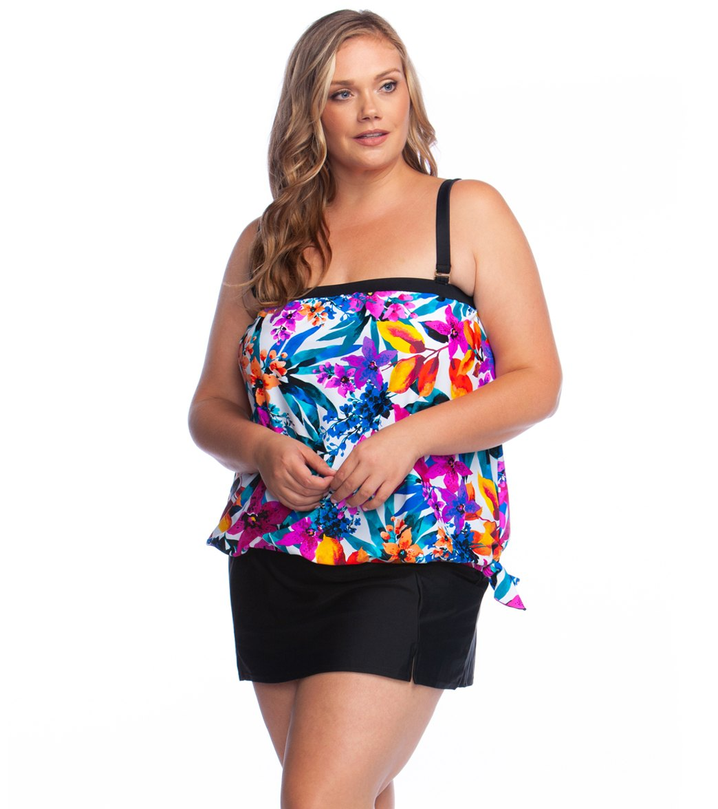 e0d017bea3 ... Maxine Plus Size Key West Bandeau Blouson Tankini Top. Share