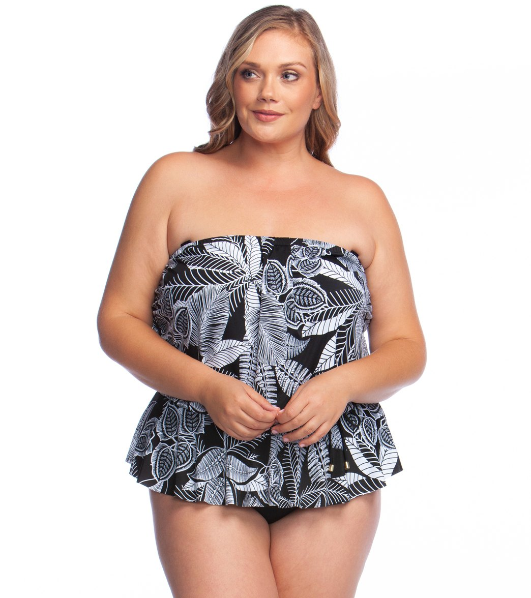 bb85c5369dc Maxine Plus Size Linework Peplum Tankini Top at SwimOutlet.com ...