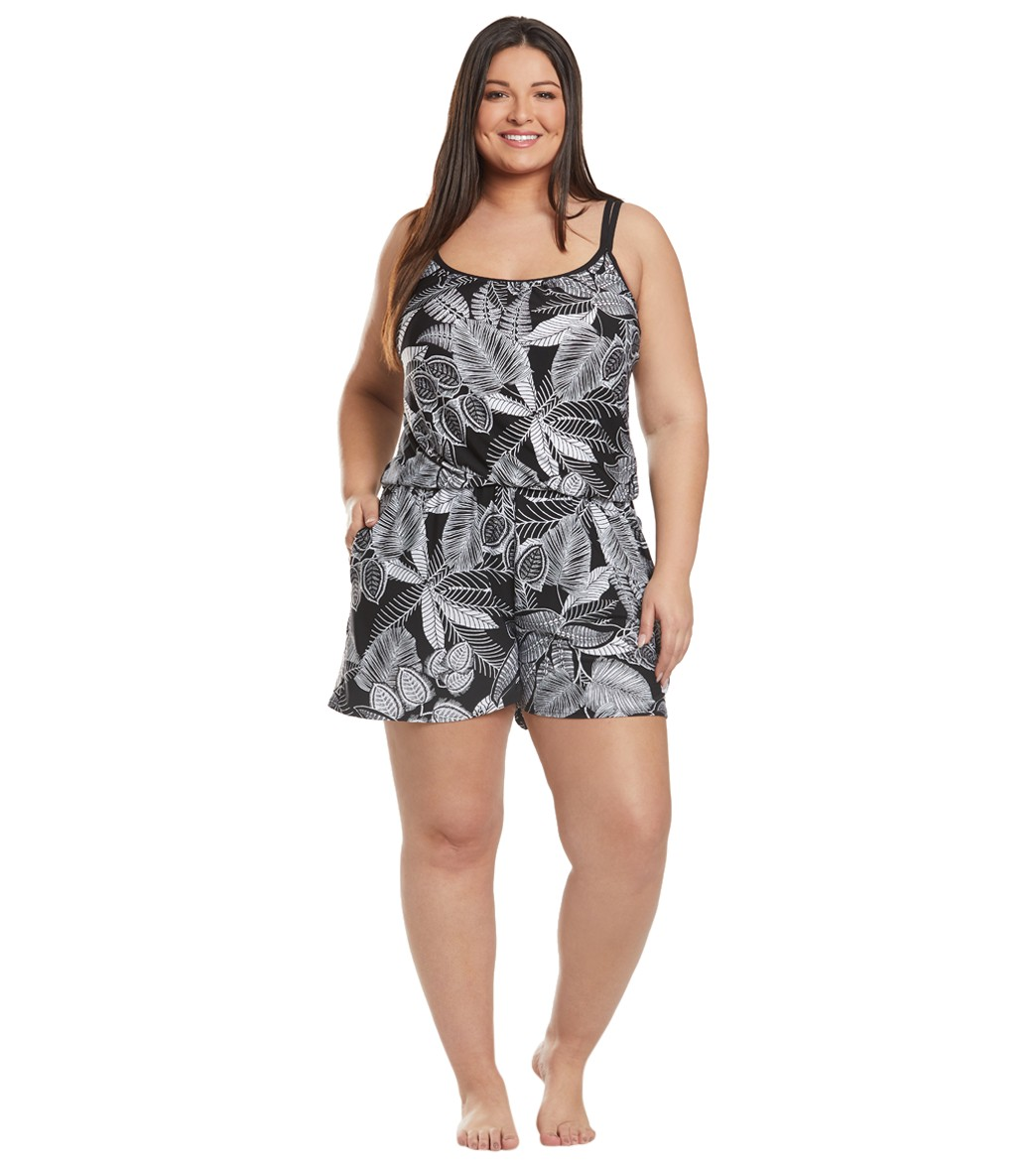 106685d5112a Maxine Plus Size Linework Swim Romper at SwimOutlet.com - Free Shipping