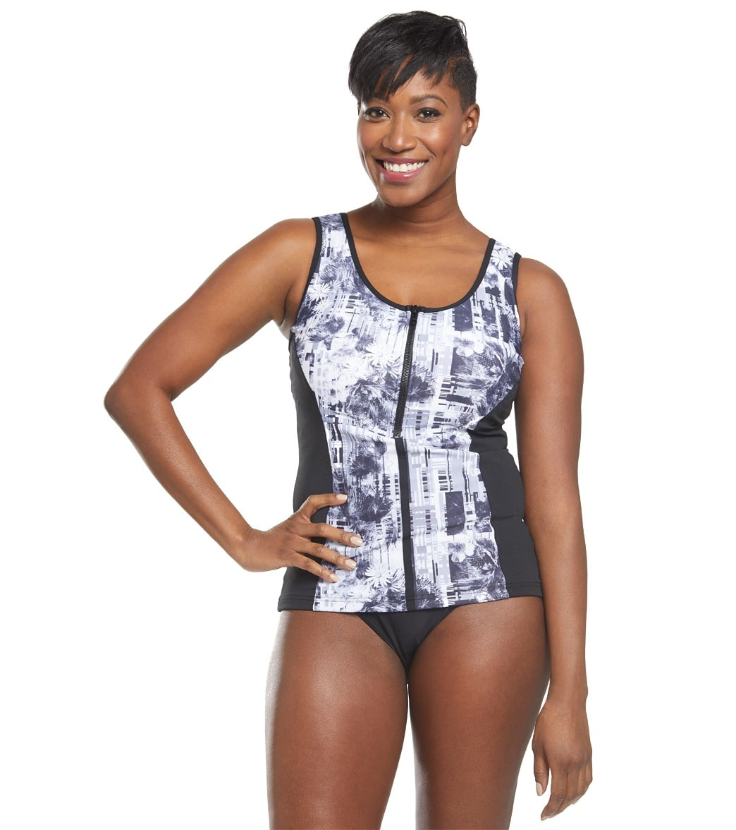 1887407a7f6aa Funkita Women s Garden Mist Zip Front Panelled Tankini Swimsuit Top at  SwimOutlet.com - Free Shipping