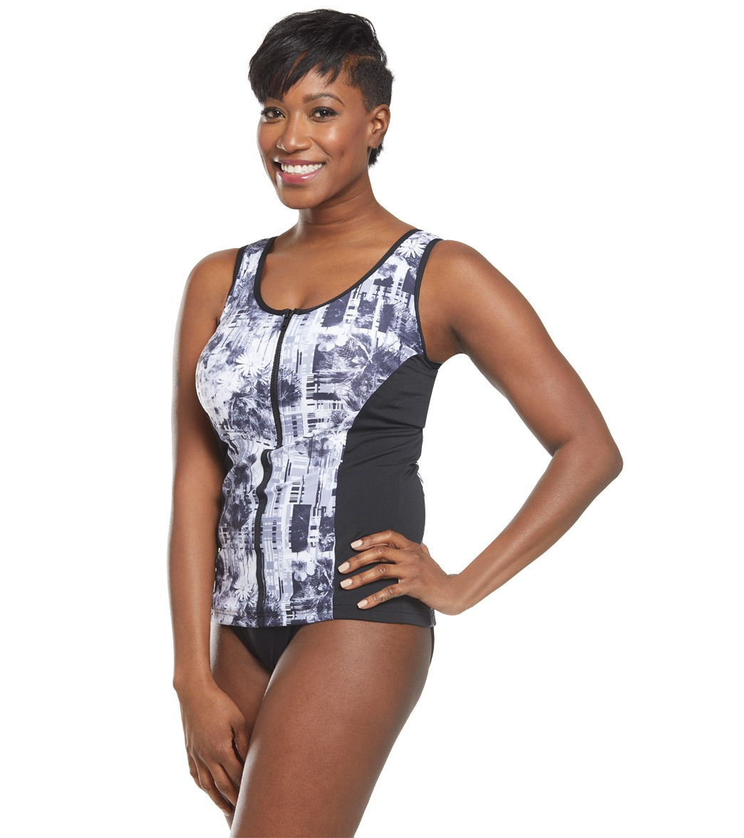 057651544e5da Funkita Women s Garden Mist Zip Front Panelled Tankini Swimsuit Top ...