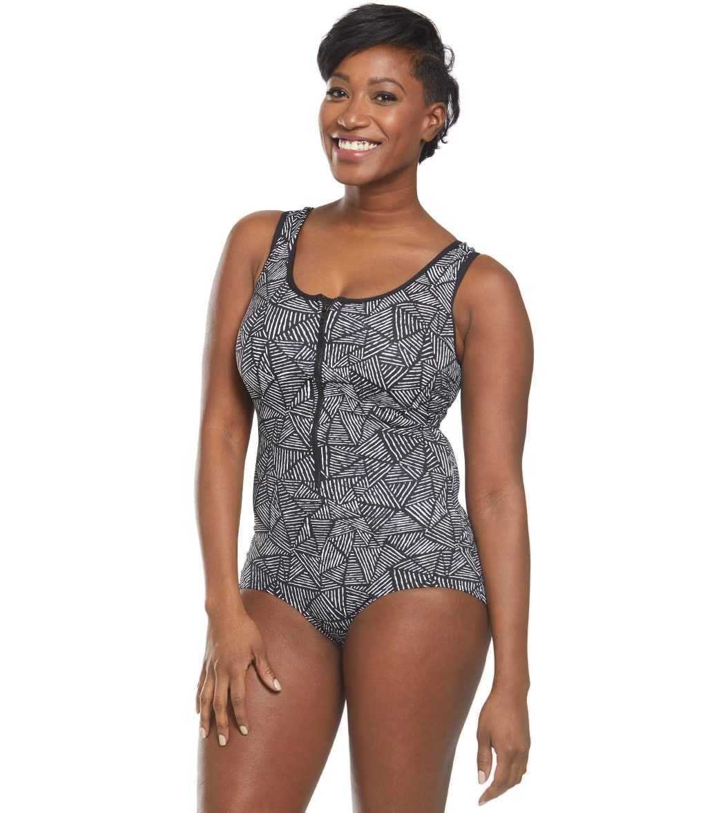 Funkita Women s Black Widow Zip Front One Piece Swimsuit at SwimOutlet.com  - Free Shipping 75949610f
