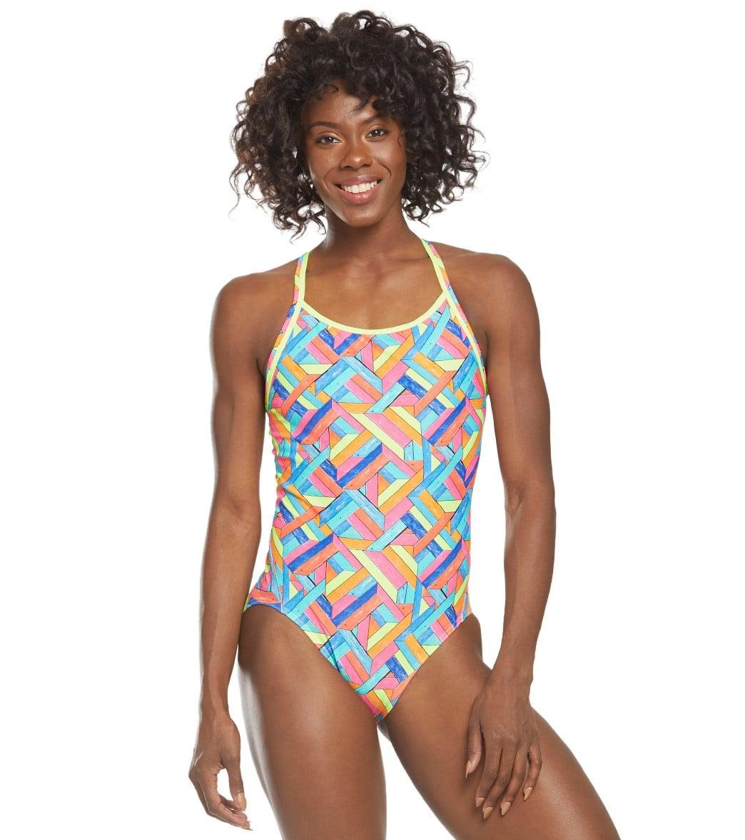 Funkita Women's Panel Pop Diamond Back One Piece Swimsuit