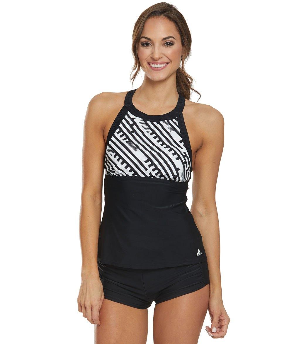 308a5c9953166 Adidas Optic Pop High Neck Tankini Top at SwimOutlet.com - Free ...