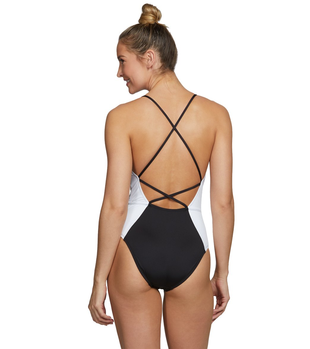 9789a1bf02 Kenneth Cole Across The Atlantic Color Block Halter One Piece Swimsuit