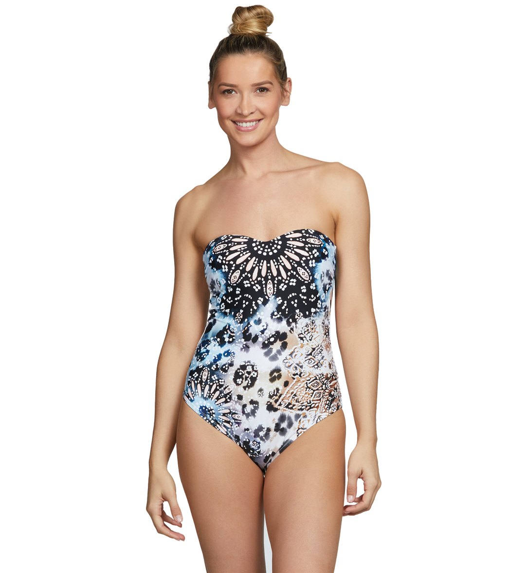 62bab5519ff86 Kenneth Cole Across The Atlantic Bandeau One Piece Swimsuit at  SwimOutlet.com - Free Shipping