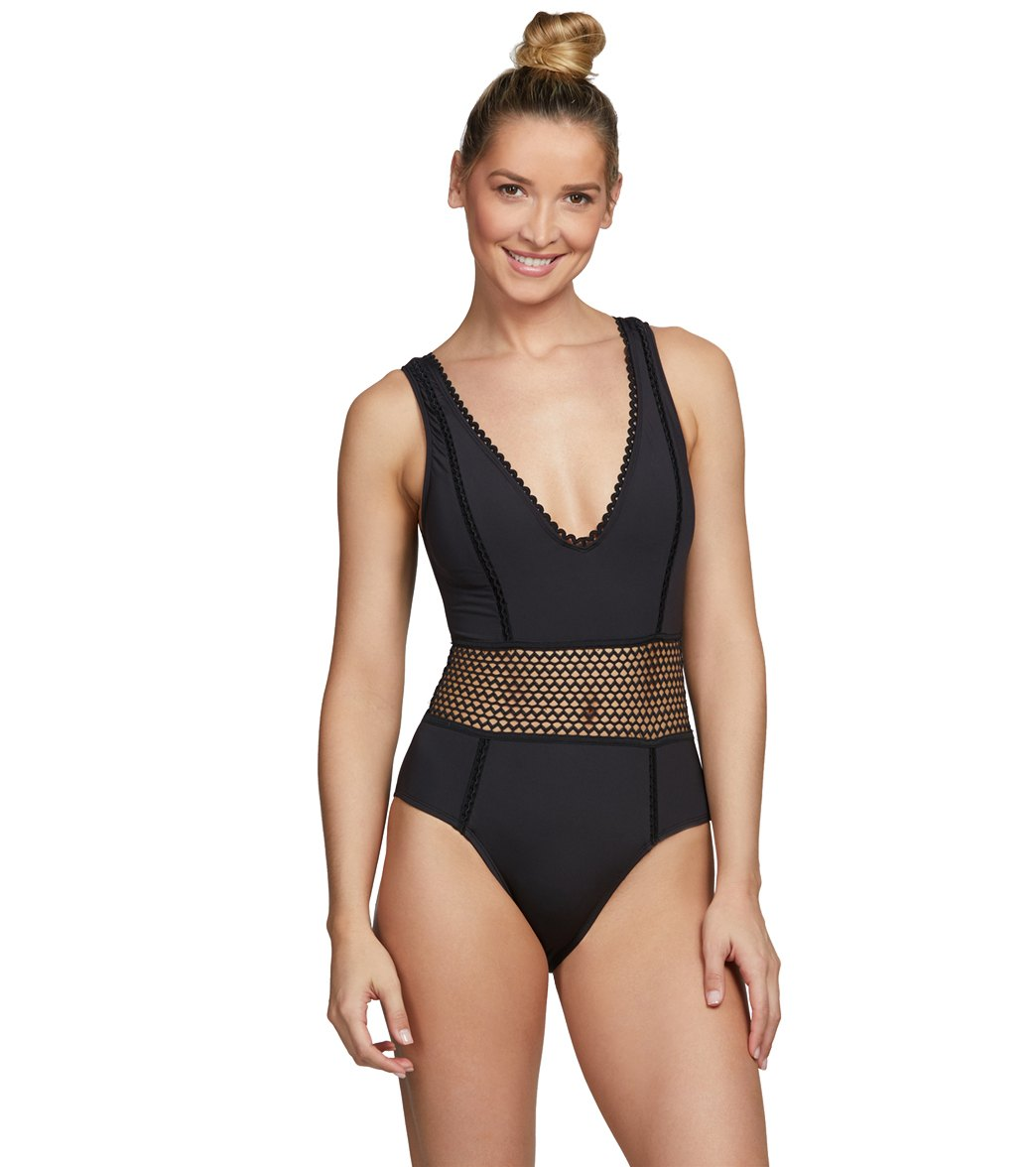 39df9c5c76 Kenneth Cole Find Tranquility V-Neck Plunge Solid One Piece Swimsuit at  SwimOutlet.com - Free Shipping