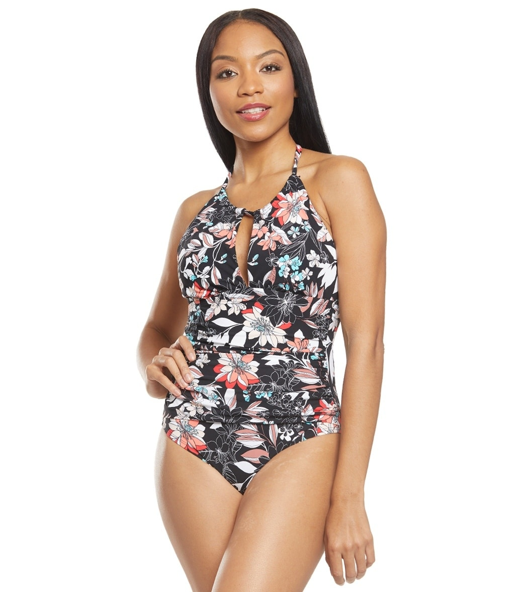 3c9f31ced1 Kenneth Cole Divine Desire Floral High Neck One Piece Swimsuit at  SwimOutlet.com - Free Shipping