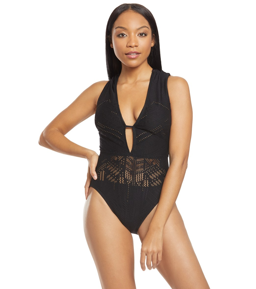 3decb4a50115 Kenneth Cole See You Swoon Plunge Cap Sleeve One Piece Swimsuit at  SwimOutlet.com - Free Shipping