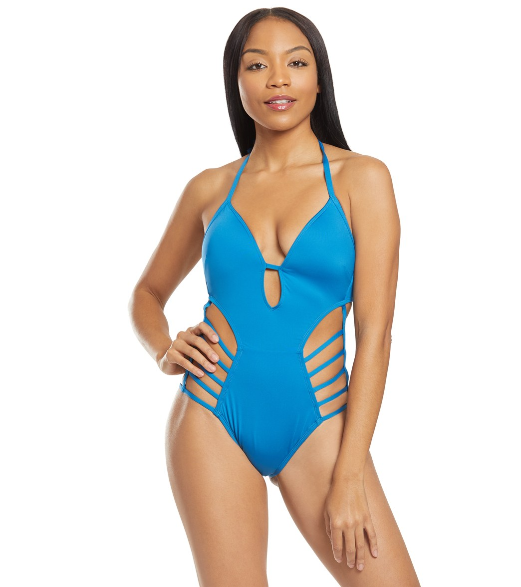 945ceb19425d3 Kenneth Cole Sexy Solid Strappy Plunge One Piece Swimsuit at SwimOutlet.com  - Free Shipping