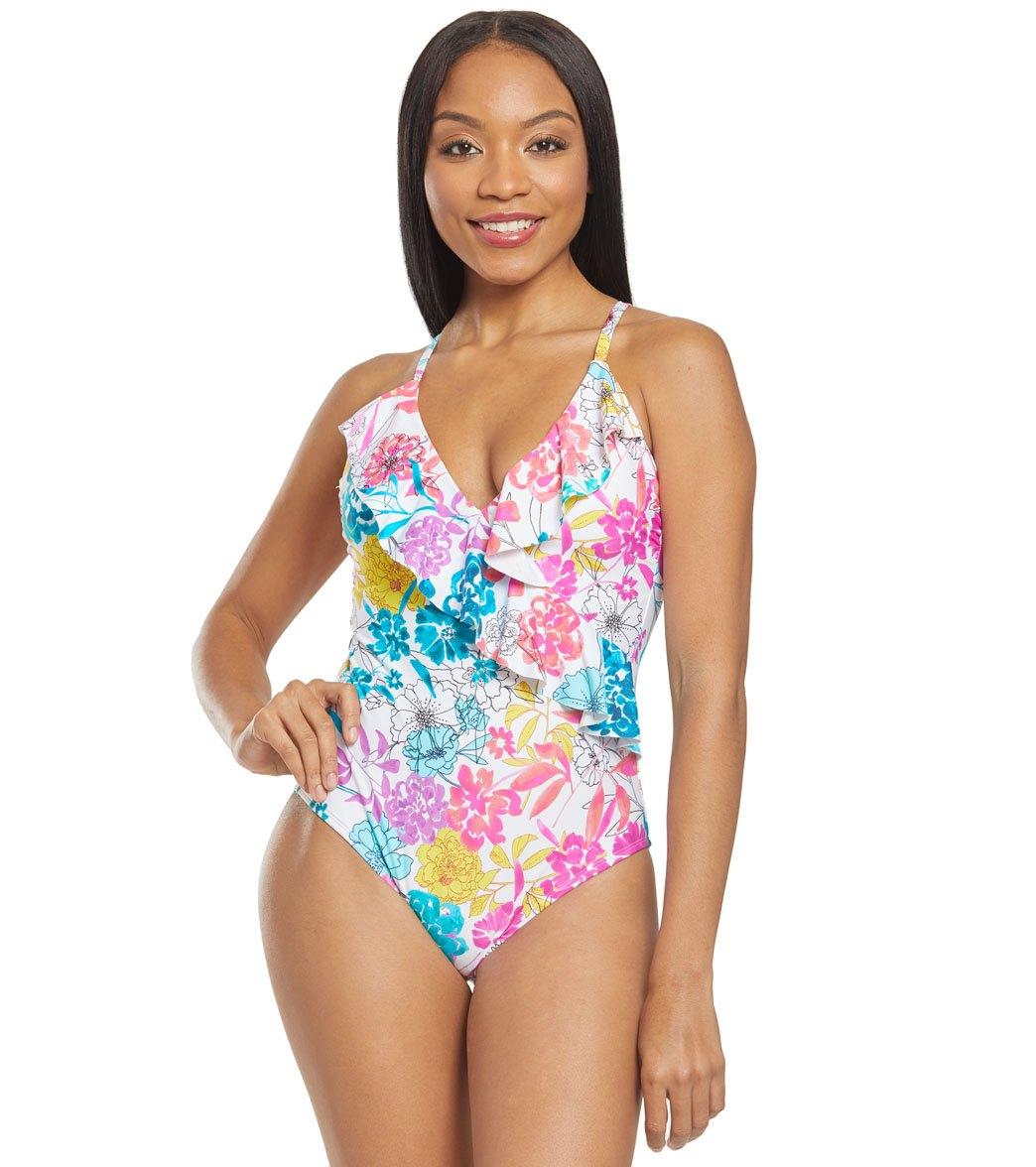 3c92d5f7069 Kenneth Cole Reaction Paint The Garden Ruffle One Piece Swimsuit at  SwimOutlet.com - Free Shipping