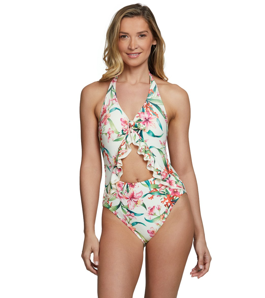 726108d1515 Carmen Marc Valvo Garden Party Ruffle Halter One Piece Swimsuit at  SwimOutlet.com - Free Shipping