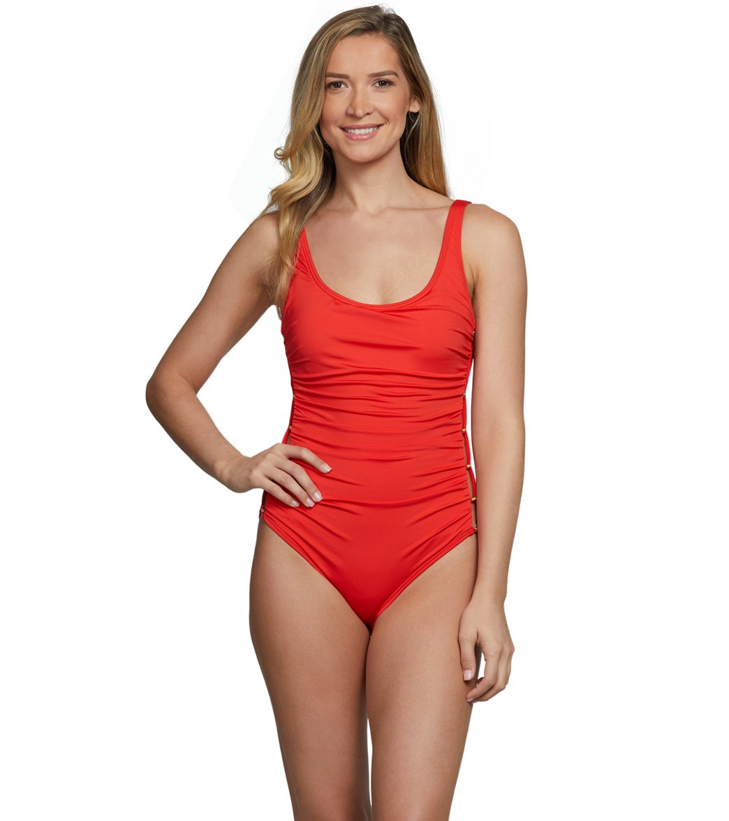 c0ab03d7389ca Carmen Marc Valvo Poolside Scoop Neck One Piece Swimsuit at SwimOutlet.com  - Free Shipping