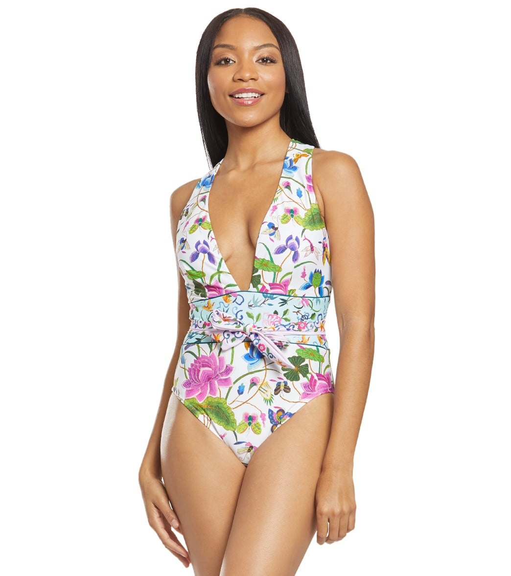 2194ec1eb1b Nanette Lepore Opulent Garden Belle Plunge One Piece Swimsuit at  SwimOutlet.com - Free Shipping