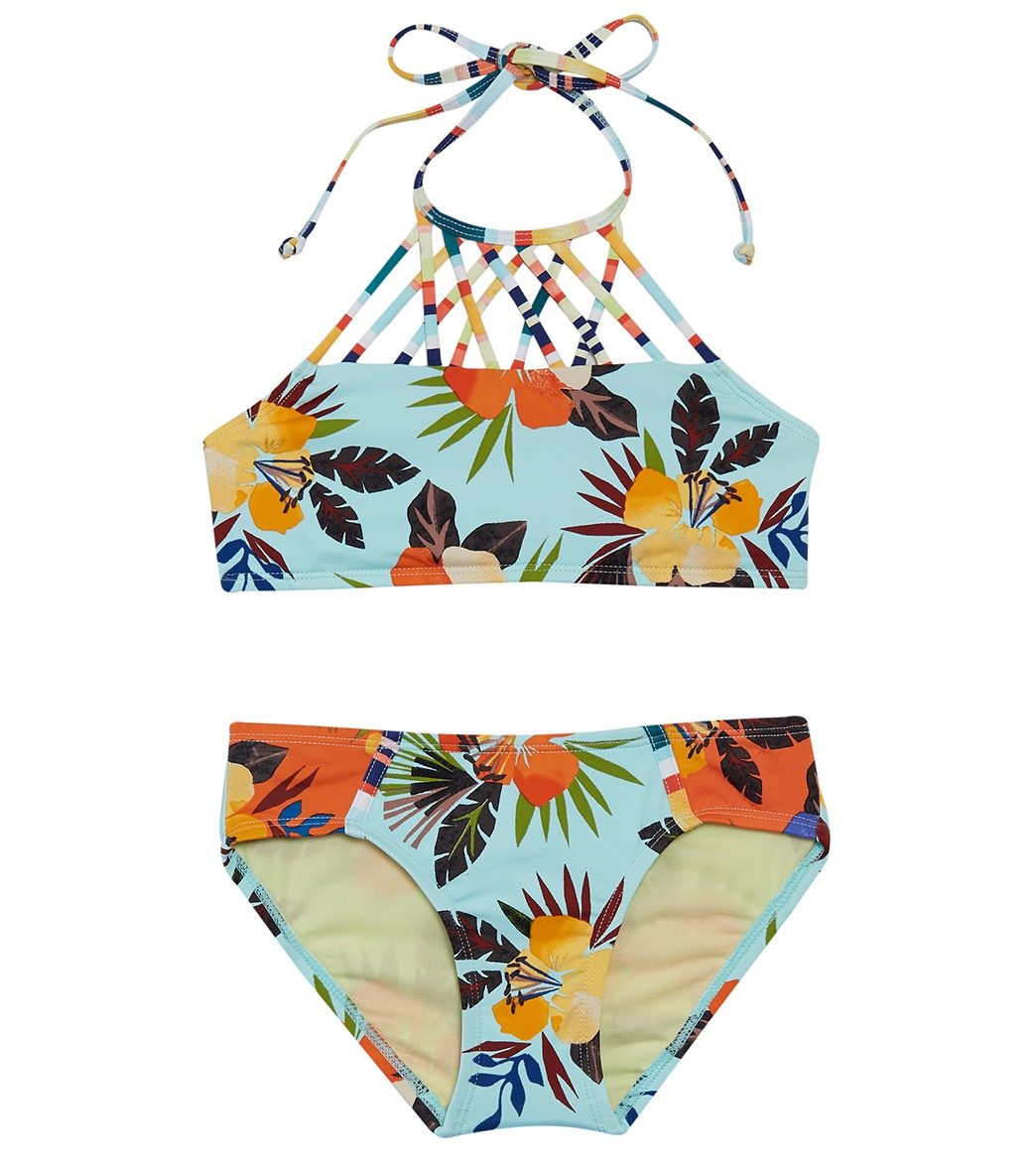 ac28fe81de4dfa Hobie Girls  North Shore Thing Strappy High Neck   Boycut Hipster Bikini  Set (Big Kid) at SwimOutlet.com