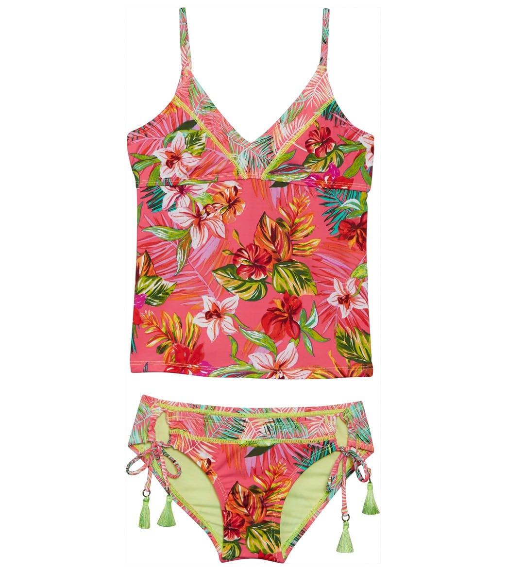 Hobie Girls' Hipster Setbig Or All Neck Flor V Adjustable Bikini Nothing Tankiniamp; Kid Pwkn0O8X