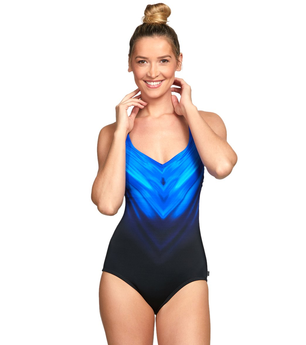 7708779a4ff75 Reebok Chevron Shield Vneck Chlorine Resistant One Piece Swimsuit at  SwimOutlet.com - Free Shipping