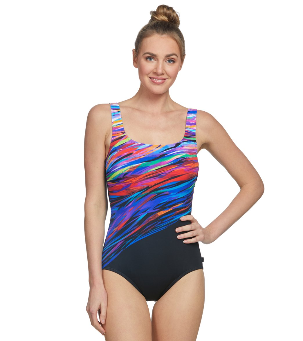 4f4c20d2bbb34 Reebok Northern Northern Lights Show Scoop Neck Chlorine Resistant One  Piece Swimsuit at SwimOutlet.com - Free Shipping